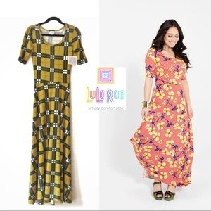 NWT LuLaRoe Ana Yellow and Green Plaid Maxi Dress